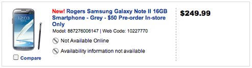 Rogers Galaxy Note 2 Price set pretty high at $249 on 3 year contract