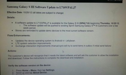 Sprint Galaxy S3 Jelly Bean Update coming on October 25, labelled as L710VPALJ7