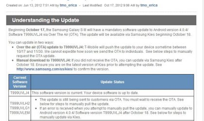 T-Mobile Galaxy S3 OTA Update released, fixes things, no signs of Jelly Bean
