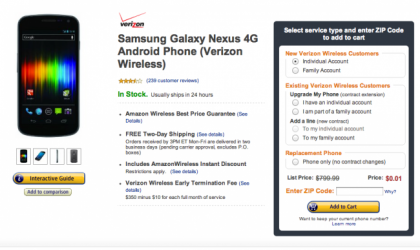 Verizon Galaxy Nexus Price dropped to 1 cent on Amazon