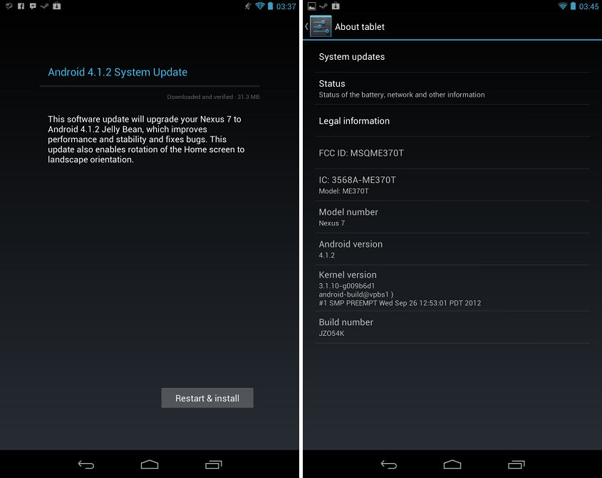 Android 4. 1. 2 rolling out to nexus 7 with landscape mode [download.