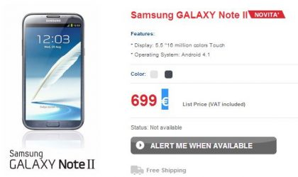 Samsung Galaxy Note 2 Price for Italy: 699 Euros