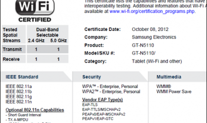 Did the Galaxy Note 7-inch just get the Wi-Fi certification?