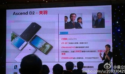Huawei Ascend D2 specs leaked out