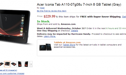 Acer Iconia Tab A110 Price announced, selling from today for $229