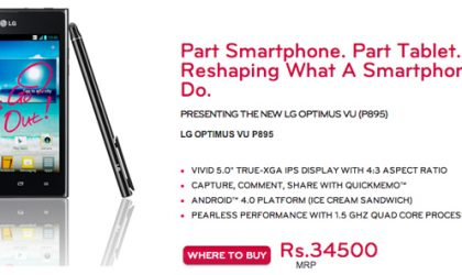 LG Optimus Vu Price in India set at INR 34500