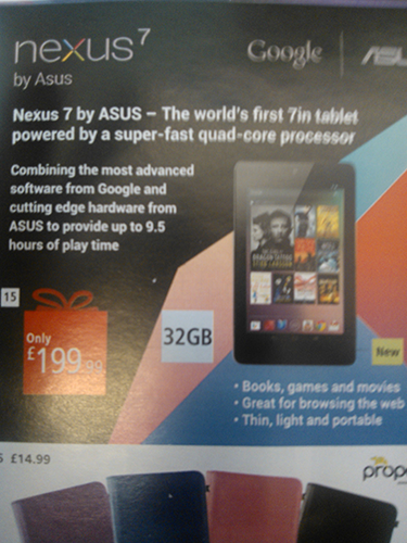 Confirmed: 32 GB Nexus 7 Price is £199