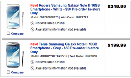 Unlocked Galaxy Note 2 price set at $729 in Canada