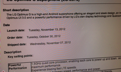 Bell Optimus G release date scheduled for November 13
