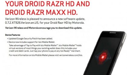 Droid Razr HD and Maxx HD Update comes teeming with Isis mobile wallet