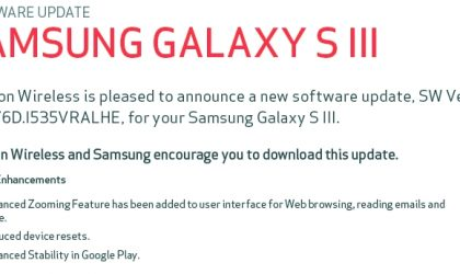 New Update for Verizon Galaxy S3 incoming, dubbed VRALHE