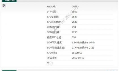 Sony Yuga Specs include 1.5 GHz quad-core S4 processor, as revealed in Antutu Benchmark test