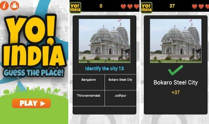 Yo! India Android game for Indians involves identifying the location based on its pic