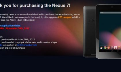 Folks who bought Nexus 7 directly from Google won't be eligible for the 30 euro Asus Store voucher