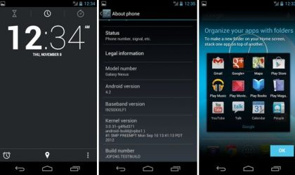 Android 4.2 baked into Galaxy Nexus with Android 4.1 as base. Works fair enough, though!