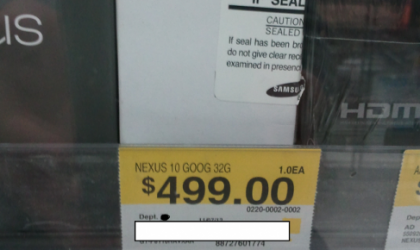 Google Nexus 10 Price at Walmart to be $499!
