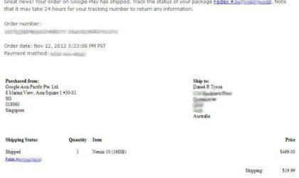 Nexus 10 starts shipping in Australia