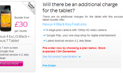 TalkTalk will have a Nexus 4 for you in UK by December 13