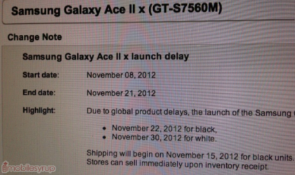 Bell Samsung Galaxy Ace 2 Release Date delayed to Nov 22