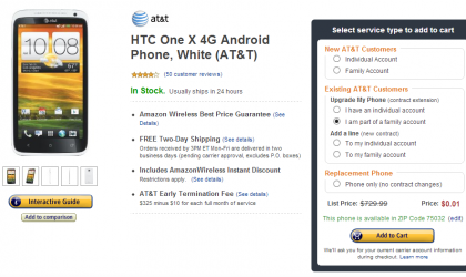 AT&T HTC One X gets a Price drop at Amazon, 1 cent on contract
