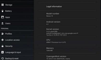 CyanogenMod 10.1 for Nexus 10 coming soon [Screenshot]