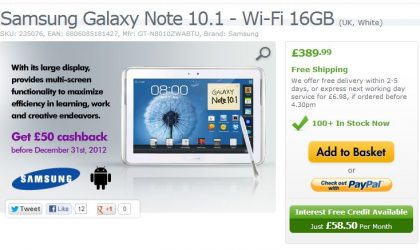 Expansys offering Cashback deal on Samsung Galaxy Tabs and Note 10.1