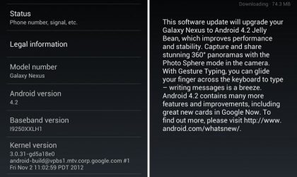 Android 4.2 Update rolling out for Galaxy Nexus already!