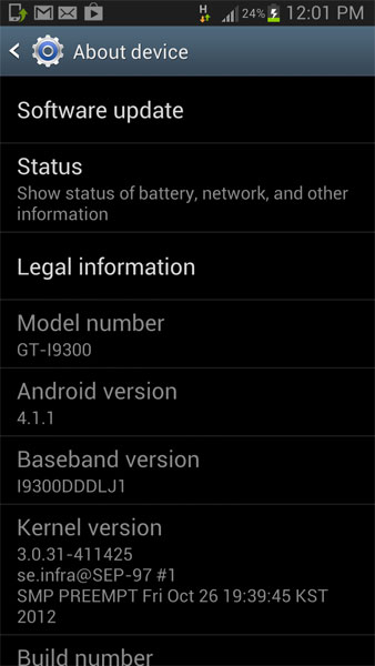 Samsung Galaxy S3 Jelly Bean Update now rolling out in India. Firmware version: DDLJ1