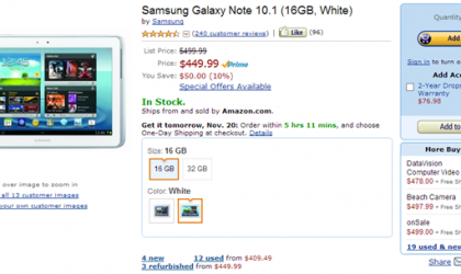 Deal: $50 off on Samsung Galaxy Note 10.1 from Amazon