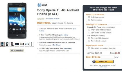 Deal: AT&T's Sony Xperia TL on sale for $0.01 on Amazon