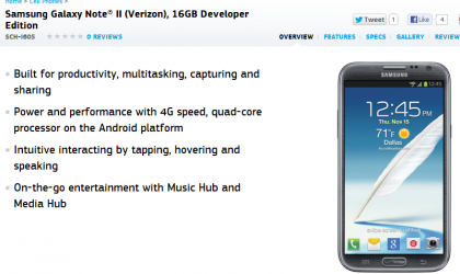Samsung confirms Verizon Galaxy Note 2 Developer Edition!