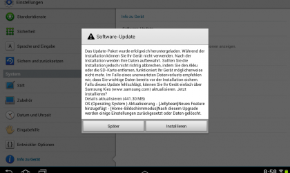 Android 4.1.1 Jelly Bean Update for Samsung Galaxy Tab 10.1 Wi-Fi edition, model GT-N8010
