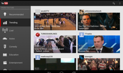 YouTube updates Android app with 10-inch tablet friendly UI
