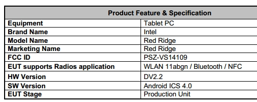 Android tablet powered by Intel processor seen at FCC