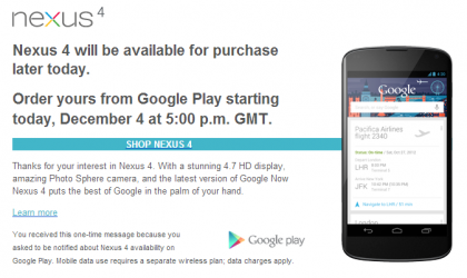 Nexus 4 to go on sale in the UK and Germany at 5PM local time
