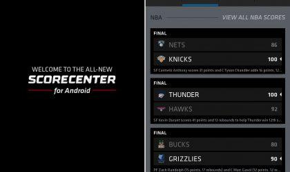 ESPN Scorecenter App updated with new UI