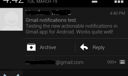 Gmail Android App Updated: now Archive, Delete and Reply straight from Notification bar without opening the app