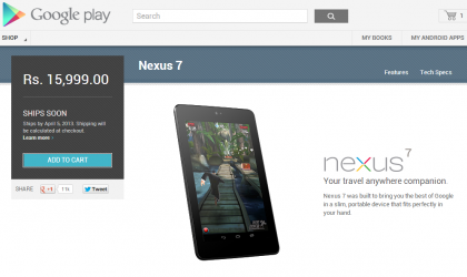 Google debuts Nexus line on Indian Play Store with Nexus 7
