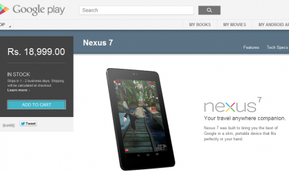 32GB Nexus 7 launched on Indian Play Store for Rs. 18,999