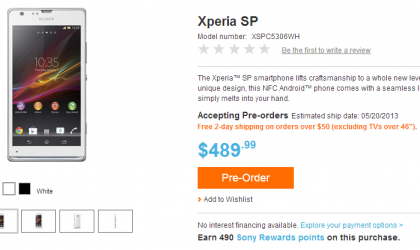 Unlocked Xperia SP up for pre-order in the US on Sony's online store
