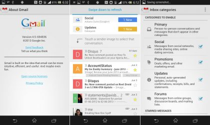 Download New Gmail APK v4.5 with Categories, Contact Icons, etc.
