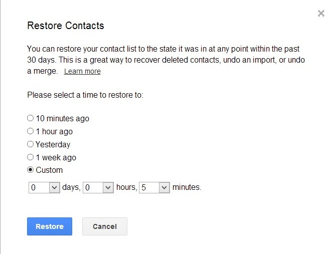 Restore Contacts from Google