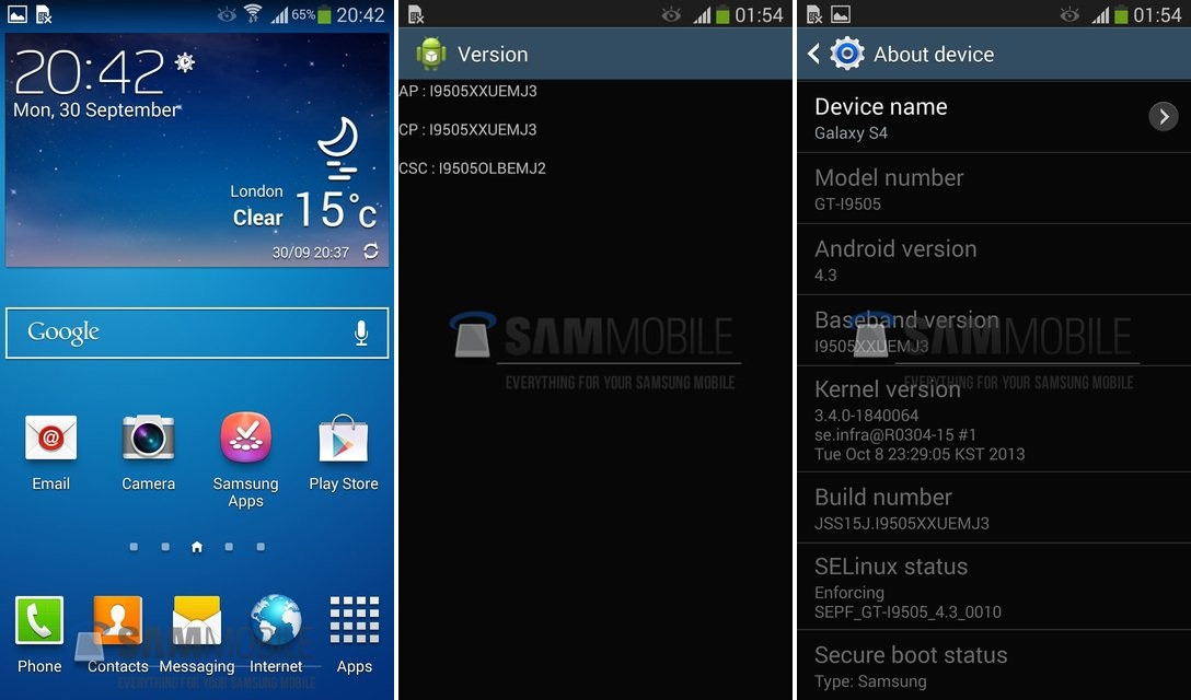Android 4.3 Update for Samsung Galaxy S4 GT-I9500 smartphone
