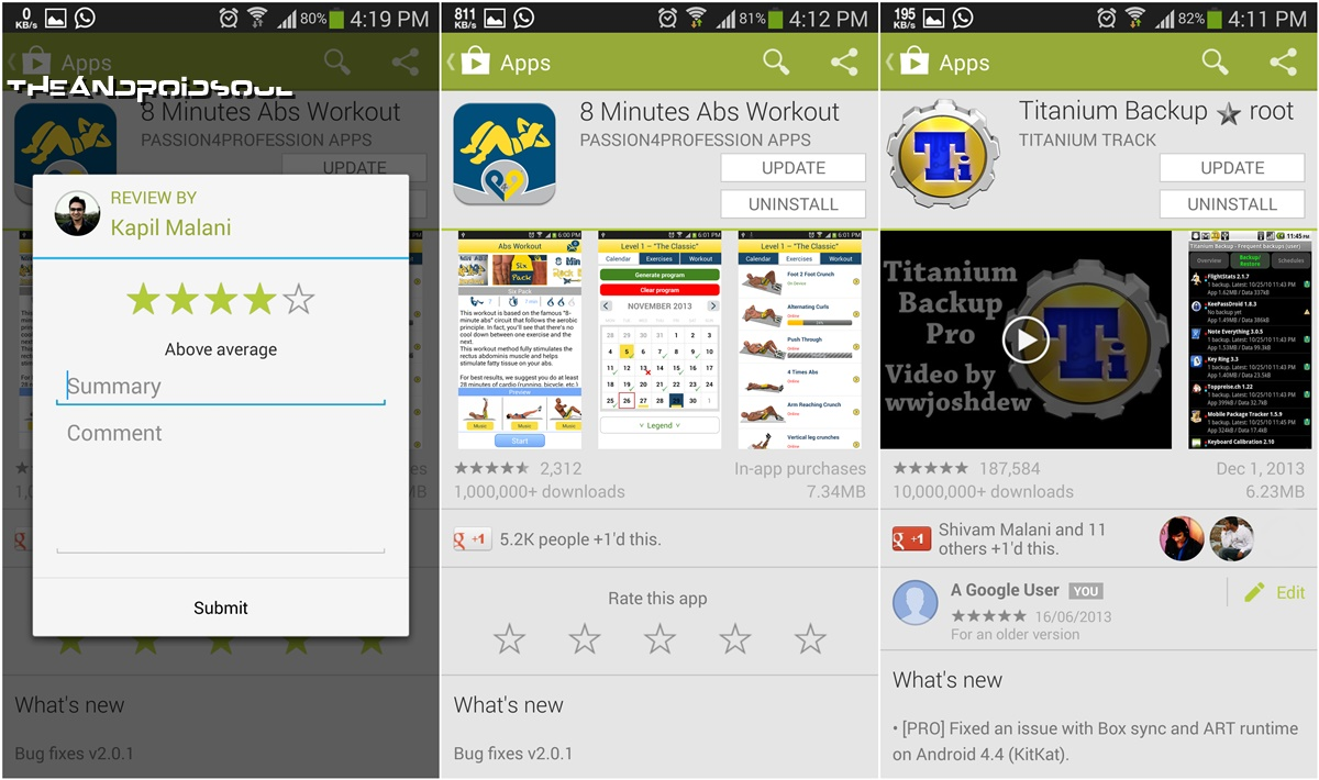 Google Play Store 4.5.10 New Review and Ratings Style