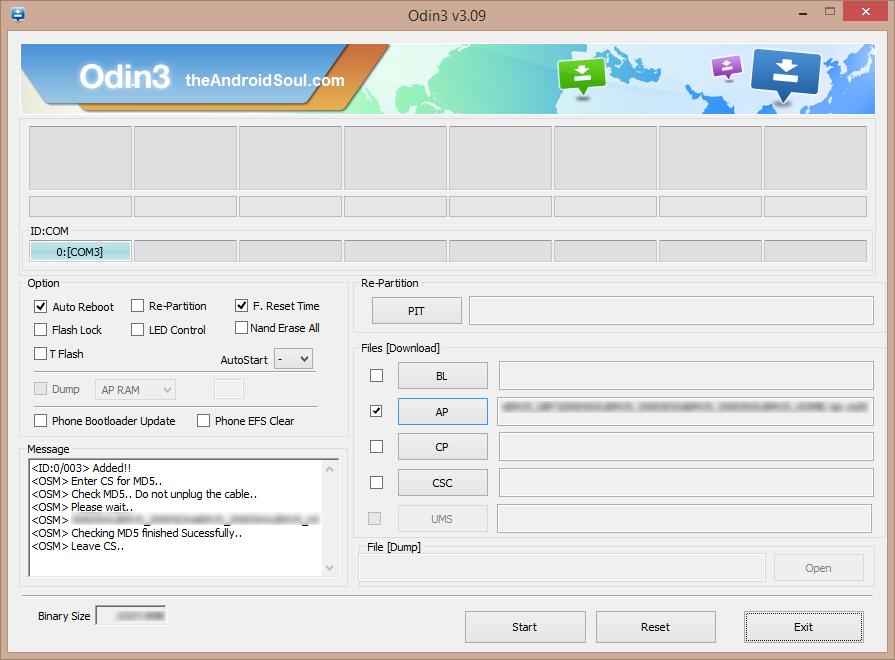 Odin File Added Screen