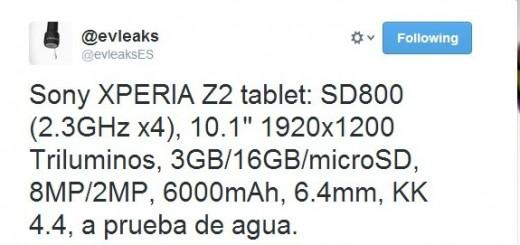 Sony Xperia Z2 Tablet Specs