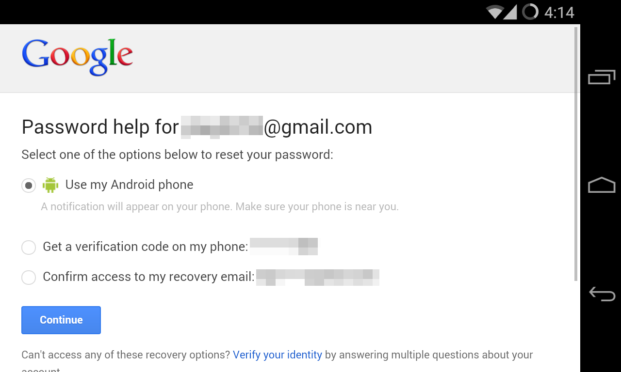 how can i recover my google play password
