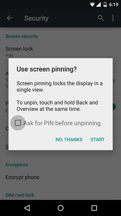 Screen Pin lock
