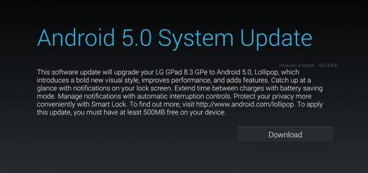 LG GPad 8.3 GPe Android 5.0 Lollipop OTA