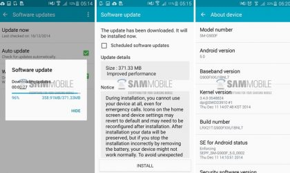 Samsung Galaxy S5 reciveing small bug-fixer OTA update for Android 5.0 Lollipop in Poland